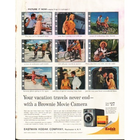 "1961 Kodak Brownie Movie Camera Ad ""vacation travels"""