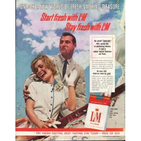 """1961 L&M Cigarettes Ad """"Start fresh"""""""