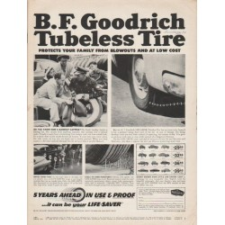 "1953 B.F. Goodrich Tires Ad ""Tubeless Tire"""