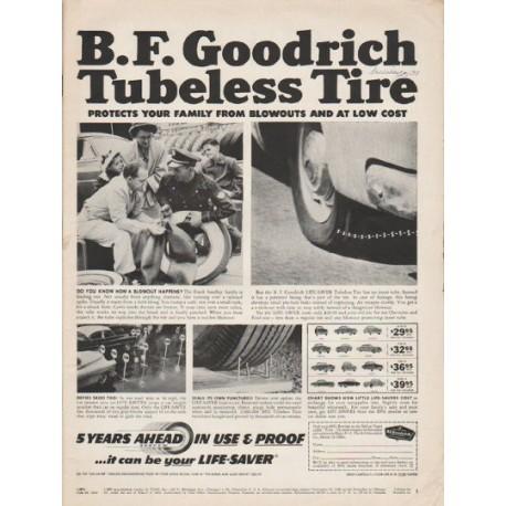 "1953 B.F. Goodrich Tires Ad ""Tubeless Tire"""