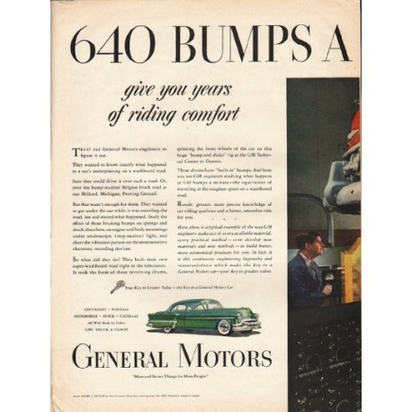 "1953 General Motors Ad ""640 bumps a minute"" ~ (model year 1953)"