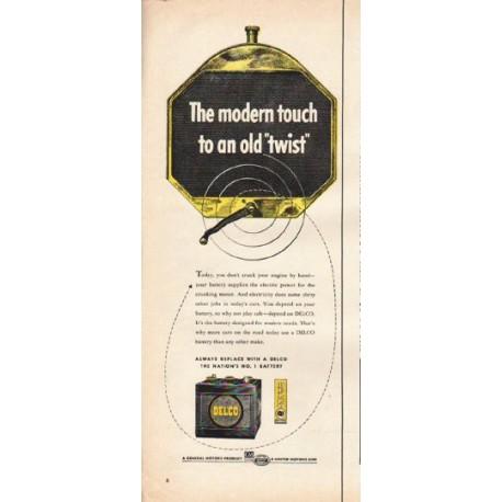 """1953 Delco Battery Ad """"old twist"""""""