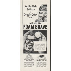 "1953 Mennen Foam Shave Ad ""Double-Rich Lather"""