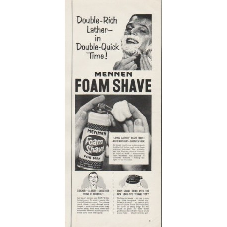 "1953 Mennen Foam Shave Ad ""Double-Rich Lather"""