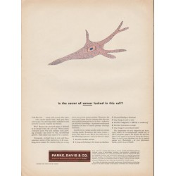 "1953 Parke, Davis & Co. Ad ""secret of cancer"""