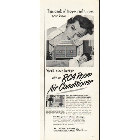 """1953 RCA Room Air Conditioner Ad """"tossers and turners"""""""