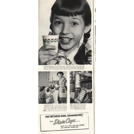 """1953 Dixie Cups Ad """"Little Girls"""""""