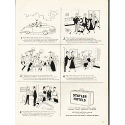 "1953 Statler Hotels Ad ""Harried Harry"""