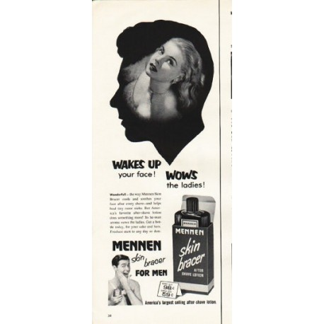 "1953 Mennen Shave Lotion Ad ""Wows the ladies"""