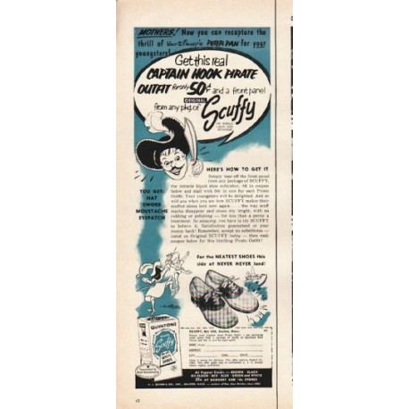 "1953 Scuffy Shoe Refinisher Ad ""Captain Hook"""
