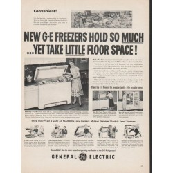 "1953 General Electric Freezer Ad ""hold so much"""