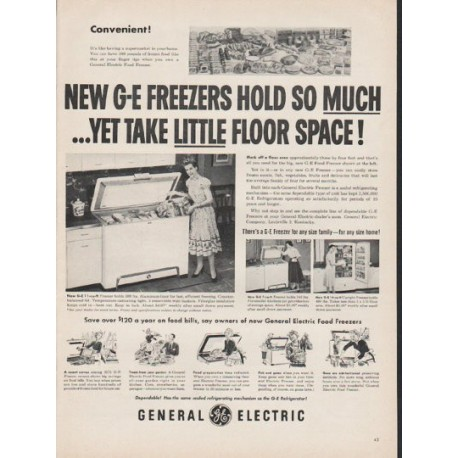 """1953 General Electric Freezer Ad """"hold so much"""""""