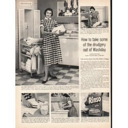 "1953 Rinso Soap Ad ""drudgery out of Washday"""