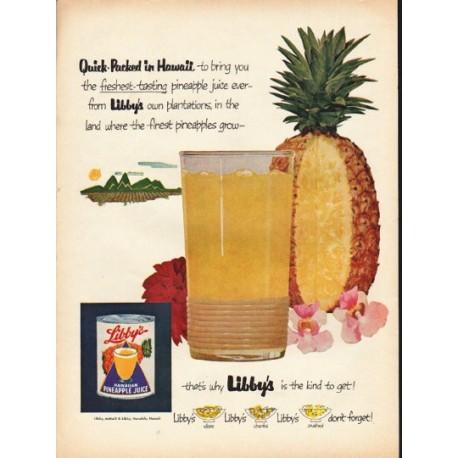 "1953 Libby's Hawaiian Pineapple Juice Ad ""Quick-Packed"""