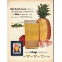 "1953 Libby's Hawaiian Pineapple Juice Ad ""Quick-Packed"""