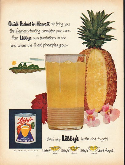 "Quick Ads For Beauty Product Blusher Oneminutebriefs: 1953 Libby's Hawaiian Pineapple Juice Vintage Ad ""Quick"