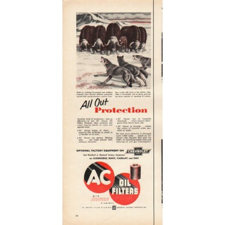 "1953 AC Oil Filters Ad ""All Out Protection"""