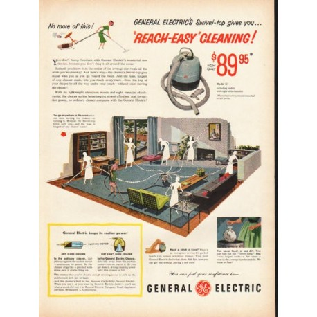 "1953 General Electric Cleaner Ad ""Reach-Easy"""