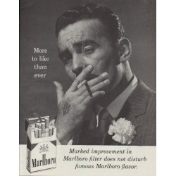 "1958 Marlboro Cigarettes Ad ""More to like than ever"""