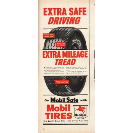 "1953 Mobil Tires Ad ""Extra Safe Driving"""