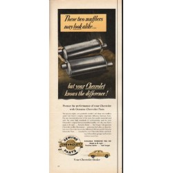 "1953 Genuine Chevrolet Parts Ad ""two mufflers"""
