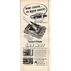 "1953 O-Cedar Car Mop Ad ""Keep Yourself Dry"""