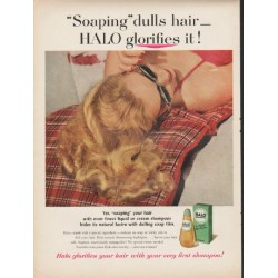 "1953 Halo Shampoo Ad ""HALO glorifies it"""