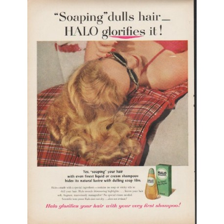 """1953 Halo Shampoo Ad """"HALO glorifies it"""""""