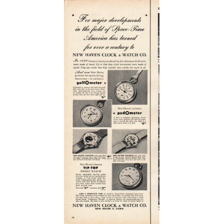 "1953 New Haven Clock & Watch Co. Ad ""major developments"""