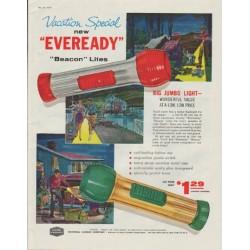 "1958 Union Carbide Ad ""new ""Eveready"" ""Beacon"" Lites"""