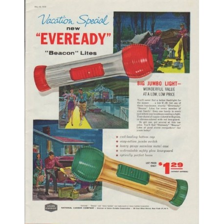 "1958 Union Carbide Ad ""new ""Eveready"" ""Beacon"" Lites"""