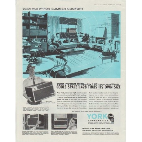 "1958 York air conditioner Ad ""York Power Mite"""