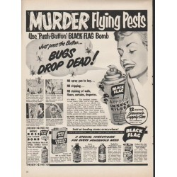 "1953 Black Flag Insect Killer Ad ""Murder Flying Pests"""