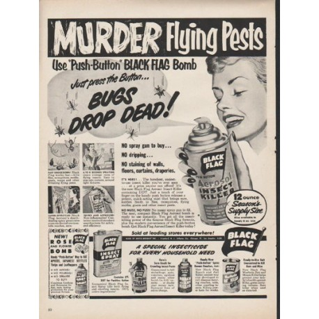1953 black flag insect killer vintage ad murder flying pests