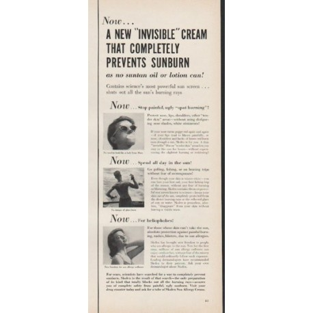 "1953 Skolex Sun Allergy Cream Ad ""Invisible Cream"""