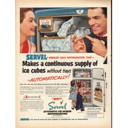 "1953 Servel Refrigerator Ad ""supply of ice cubes"""