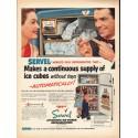 "1953 Servel Refrigerator Ad ""supply of ice cubes"""