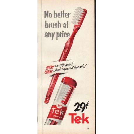 """1953 Tek Toothbrush Ad """"no-slip grip"""""""