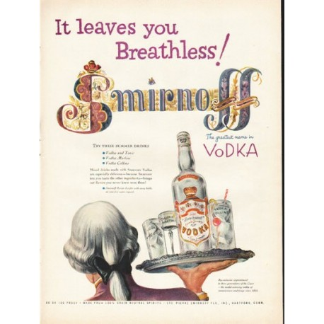 "1953 Smirnoff Vodka Ad ""leaves you Breathless"""