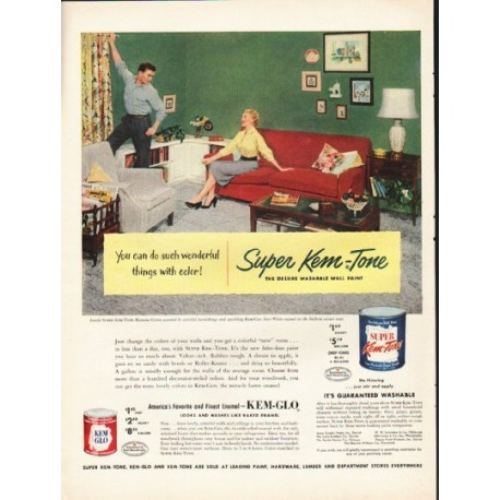 "1953 Super Kem-Tone Paint Ad ""wonderful things with color"""