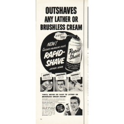 "1953 Rapid Shave Ad ""Outshaves"""