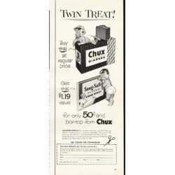 "1953 Chux Diapers Ad ""Twin Treat"""