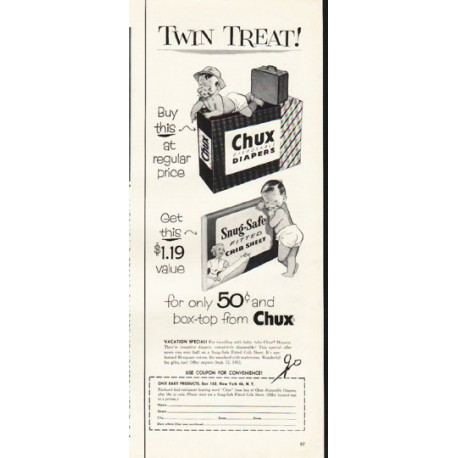 """1953 Chux Diapers Ad """"Twin Treat"""""""