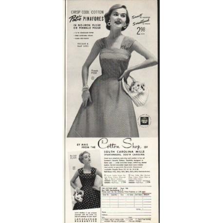 """1953 Cotton Shop Ad """"Patio Pinafores"""""""