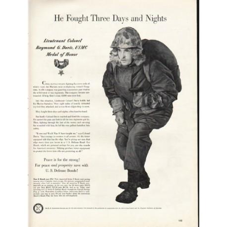 "1953 U. S. Defense Bonds Ad ""Three Days and Nights"""