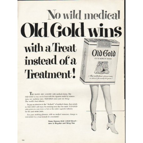 "1953 Old Gold Cigarettes Ad ""wild medical pitches"""