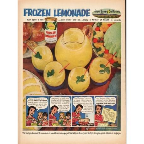"1953 Lemon Products Advisory Board Ad ""Frozen Lemonade"""