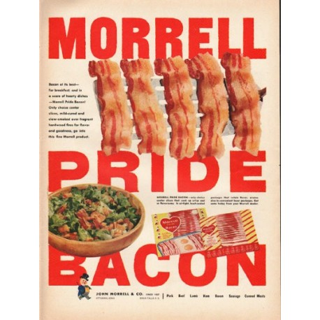 """1953 Morrell Pride Bacon Ad """"Bacon at its best"""""""