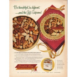 "1953 Double Kay Salted Nuts Ad ""Be thoughtful"""