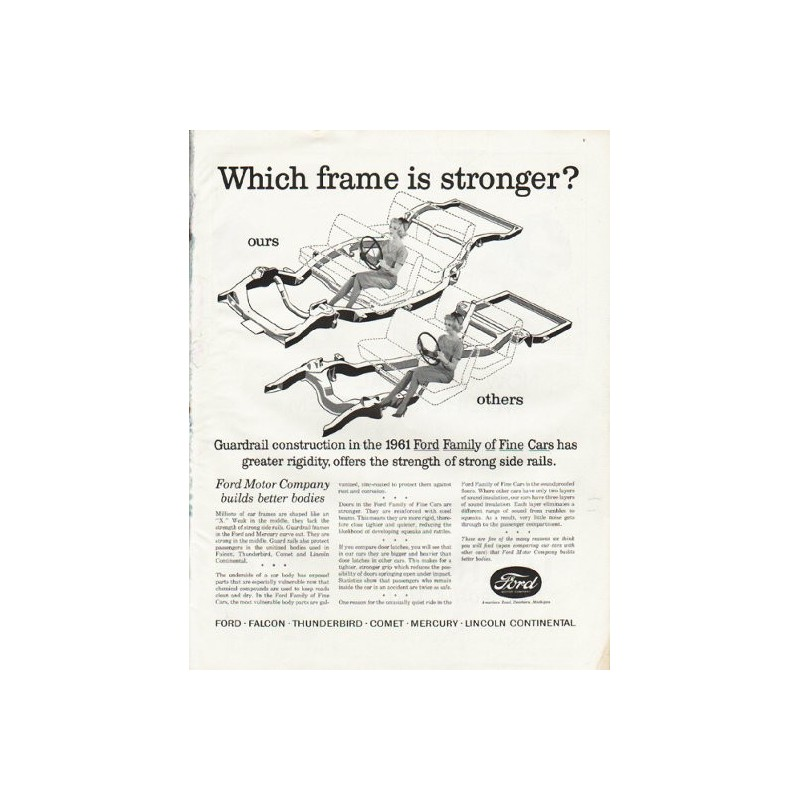 1961 Ford Motor Company Vintage Ad Which Frame Is Stronger
